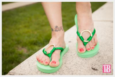 3. Green and Gold Flip Flops