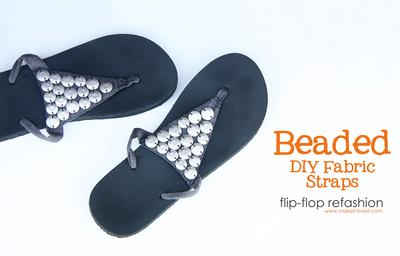 11. Fabric Straps With Beads Flip Flops