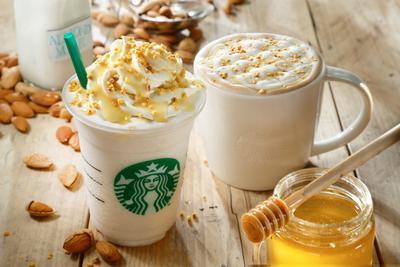 4. Almond Milk Frappuccino & Latte with Honey Crunch