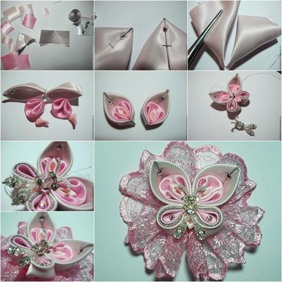 1. DIY Sweet Kanzashi Ribbon Butterfly