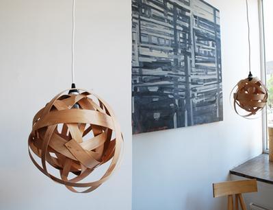 Woven Wood Veneer Lamp
