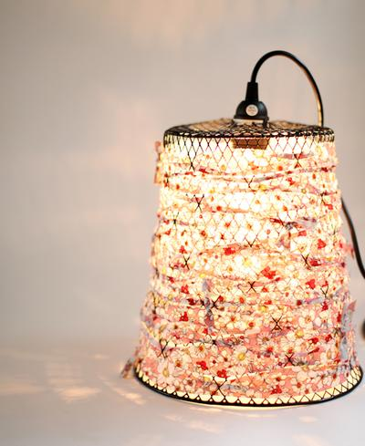 Wire Waste Basket Turned Pendant Light