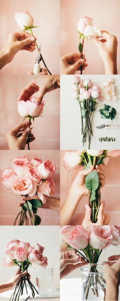 Mulai dengan membersihkan bunga.