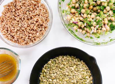 Mason Jar Chickpea, Farro and Greens Salad