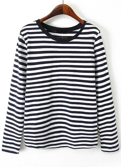 Striped Loose Navy and White T-Shirt from Romwe