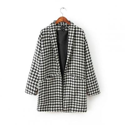 Black and White Pretty Ladies Winter Houndstooth Patterned Tweed Coat