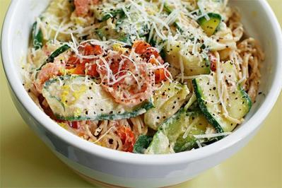 Pasta with Zucchini, Tomatoes, and Creamy Lemon-Yogurt Sauce