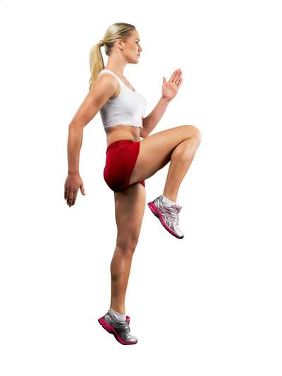 6. High Knee Running in Place & Lunge