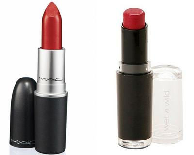 1. MAC Ruby Woo vs  Wet n Wild MegaLast Lip Color in Spotlight Red