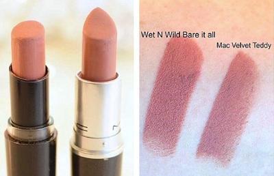 3. MAC Velvet Teddy vs Wet n Wild Megalast Lip Colour in Bare it All