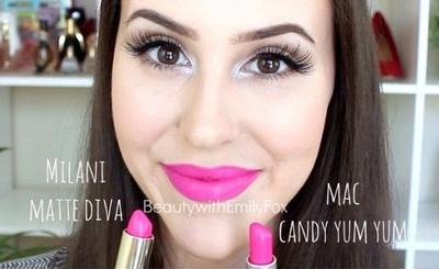 8. MAC Candy Yum Yum vs Milani in Diva