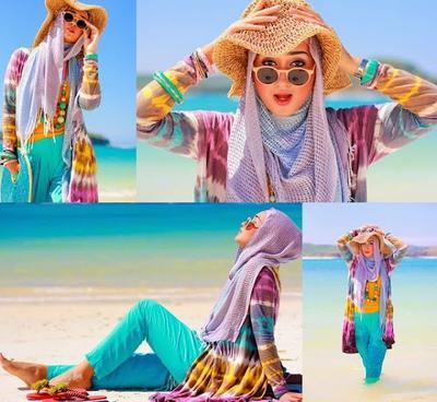6 Trik Tampil Modis Dengan Hijab ke Pantai