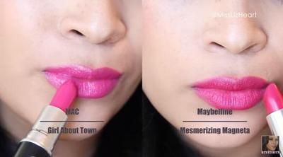MAC Girl About Town vs Maybelline Mesmerizing Magenta