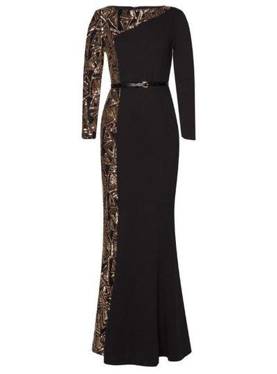 6. Zalia Geo Sequin Pieced Mermaid Dress
