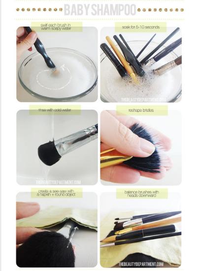 Membersihkan Brush Dengan Baby Shampoo