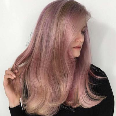 4. Straight Platinum Rose Gold Hair