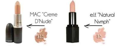 "MAC Creme ""d'Nude"" vs elf Mineral Lipstick ""Natural Nymph"""