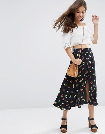 1. Flowy Midi Skirt for Petite Women