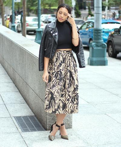 1. Cropped Jacket + Midi Skirt