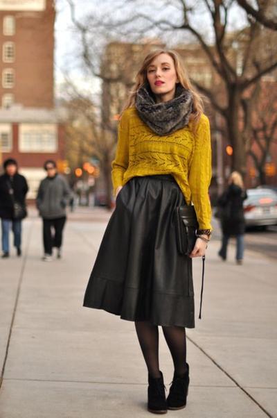4. Oversized Sweater + Midi Skirt