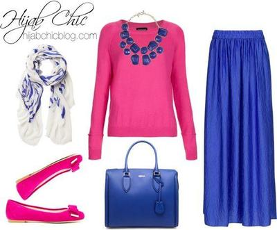 Kombinasi Style Hijab Biru dengan Pink