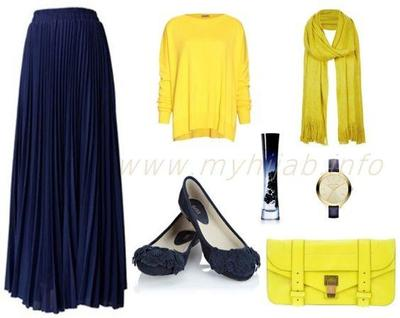Kombinasi Style Hijab Warna Kuning dan Navy