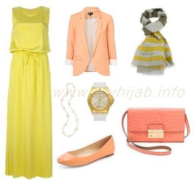 Kombinasi Style Hijab Warna Kuning dan Peach