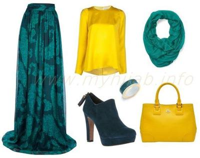 Kombinasi Style Hijab Warna Kuning dan Turquoise
