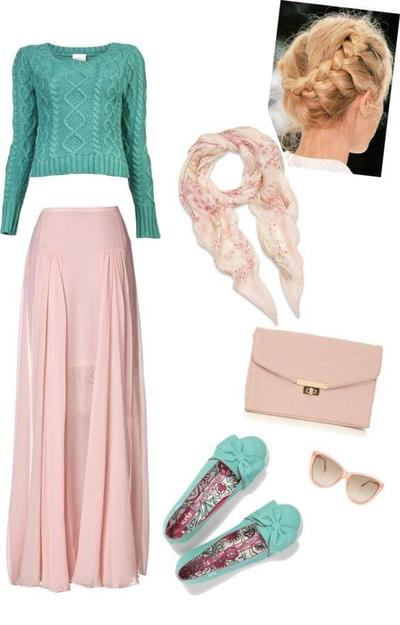 Kombinasi Style Hijab Merah Muda dan Turquoise