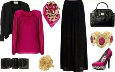 Kombinasi Style Hijab Merah Muda dan Hitam