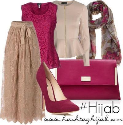 Kombinasi Style Hijab Merah Muda dan Coklat