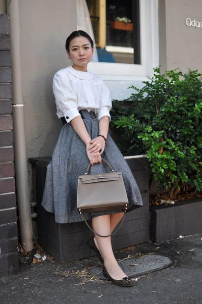 Circle skirt and Pattern Flat Shoes