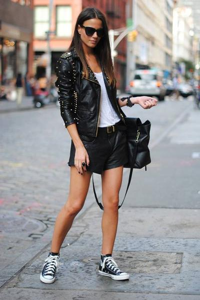 Converse + Leather Jacket