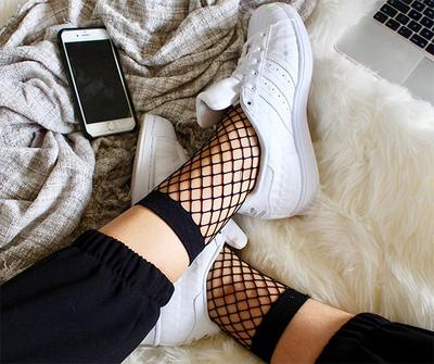 Fishnet Sock + White Sneakers