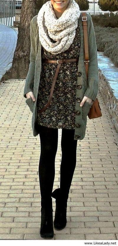 Kombinasi Legging dan Long Cardigan