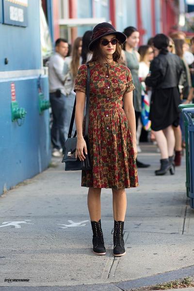 1. Floral Dress + Boots