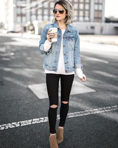 Skinny Jeans + Denim Jacket