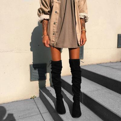 Knee High Boots + Oversized Outerwear
