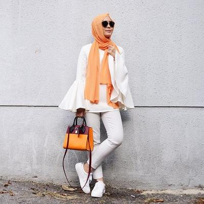 Tangerine Hijab on White Outfit