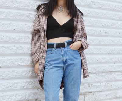 Bralette & Plaid Shirt