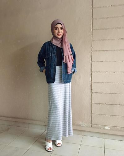 Long Skirt + Denim Jacket