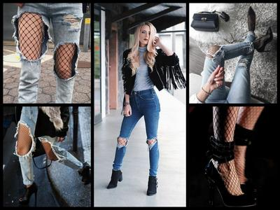 Mix and Match Ripped Jeans dengan Fishnet Stocking