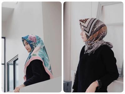 Hijab Satin Motif dan Atasan Hitam ala Nisacookie