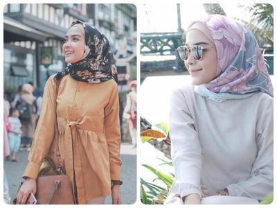 Color Matching dengan Hijab Satin Motif Ala Hamidah Rachmayanti