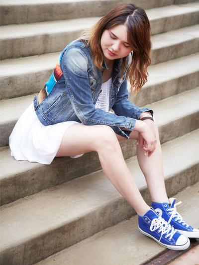 Jaket Jeans, Dress and Converse