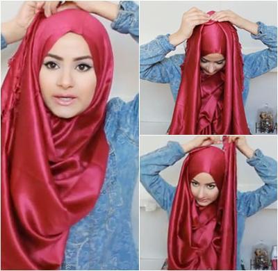 2. Tutorial Sederhana Penggunaan Hijab Satin