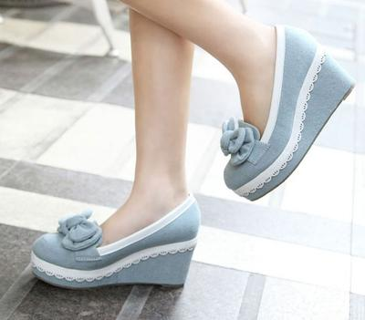 Round Toe Bowknot Chunky Heels Wedge Shoes