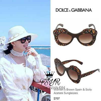 Dolce & Gabbana Womens Brown Spain and Sicily Acetate Sunglasses