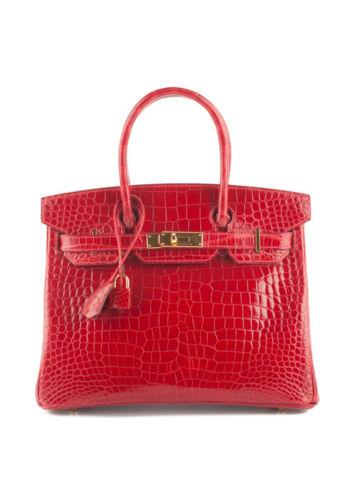New Hermes Braise Crocodile Porosus Gold Tone 30cm Birkin Tote Handbag In Box