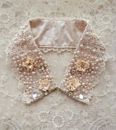 3. Vintage Collar With Pearls, Crystals, Silk Ribbon Flowers and Rhinestones